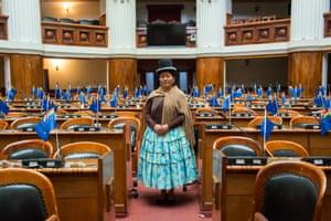 Congresswoman Cristina Choque Paxi in Bolivia's national parliament in La Paz