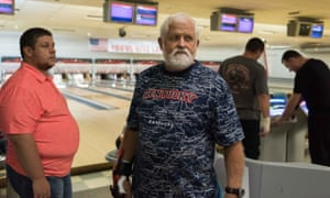 Bowl Rite Lanes, Saturday night, league bowling. Lloyd Robinson, 65, former union coalminer, now retired: 'I guess you could say this bowling league is my new union'