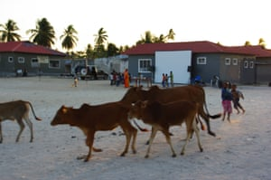 Preparing for film screening in Paje, Zanzibar, Tanzania.