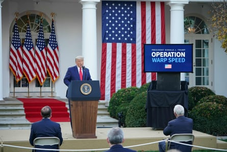 Donald Trump delivers an update on Operation Warp Speed in the Rose Garden of the White House on 13 November 2020.