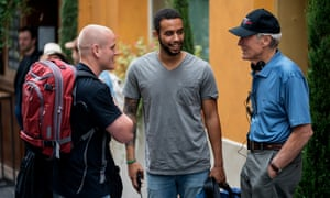 Spencer Stone and Anthony Sadler with Clint Eastwood on the set of The 15:17 to Paris.