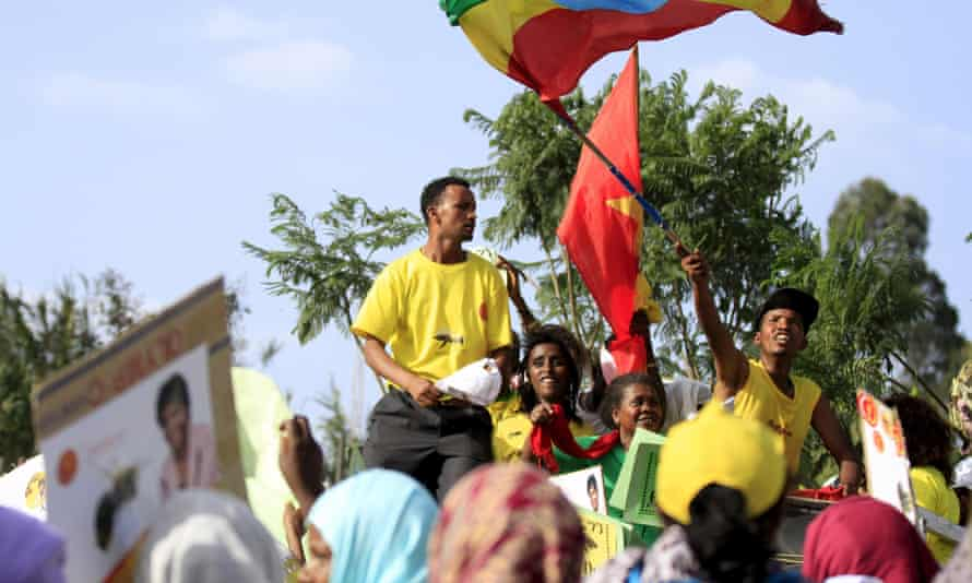 People take part in an Ethiopian People's Revolutionary Democratic Front (EPRDF) election rally in Addis Ababa.