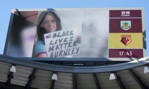 One of a number of Burnley fans that were displayed on a screen inside the stadium showing their support for the Black Lives Matter movement.