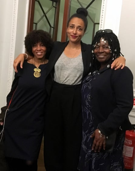 Busby (left) with authors Zadie Smith (centre) and Smith's mother, Yvonne Bailey-Smith