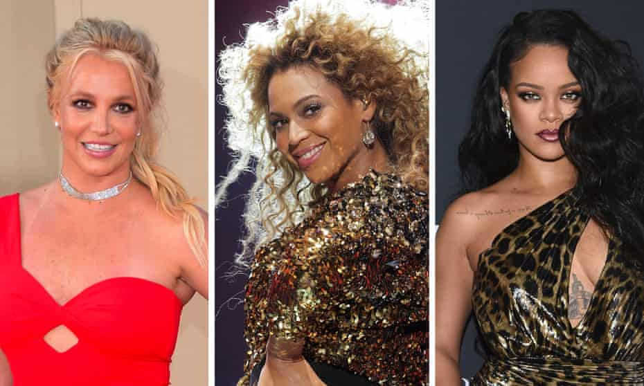 'To gain power, and crucially, to retain it, you need a reserve of it to begin with' ... (L-R) Britney Spears, Beyonce and Rihanna.