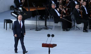 President Vladimir Putin at a concert in celebration of Moscow's City Day on Saturday.