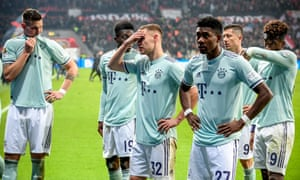 Bayern players react after their defeat to Leverkusen.