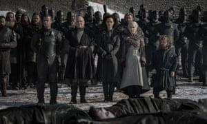Grey Worm, Varys, Missandei, Daenerys and Tyrion.
