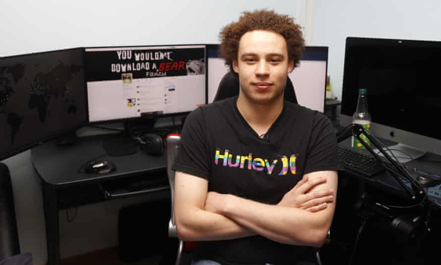 Marcus Hutchins at his workstation in Ilfracombe, England. He was arrested in Las Vegas after attending an annual hacking conference.
