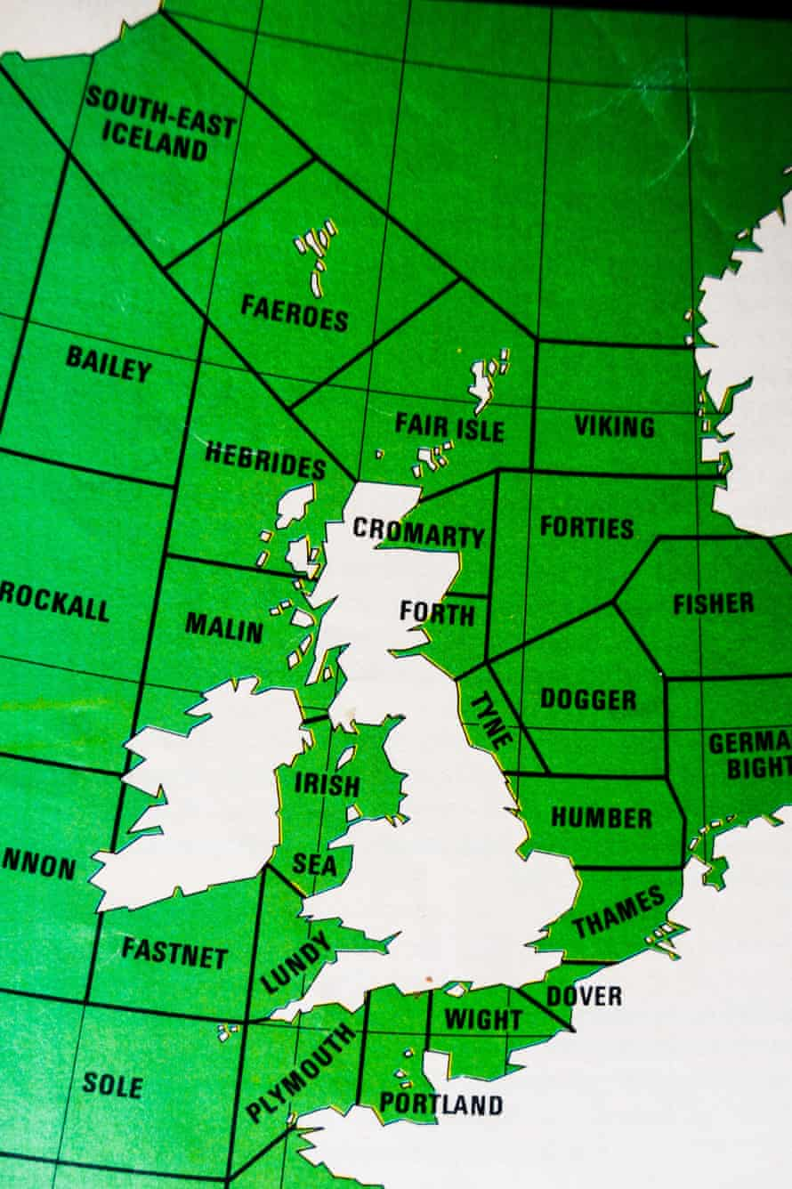 An early map of the UK shipping forecast areas