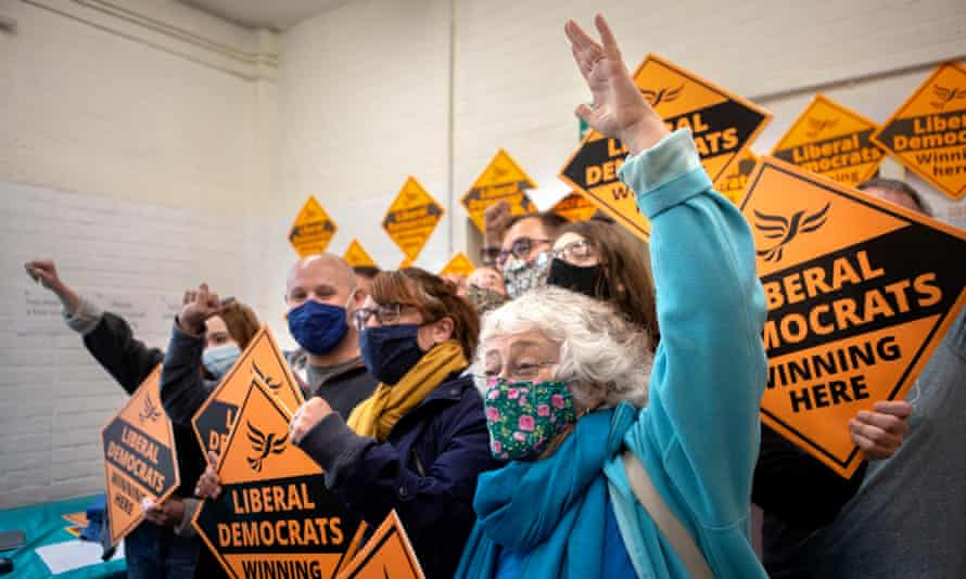 Lib Dem activists celebrate their win in the Chesham and Amersham byelection