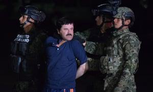 Mexican authorities hold drug lord Joaquin 'El Chapo' Guzmán.