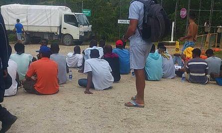 Detainees on Manus Island