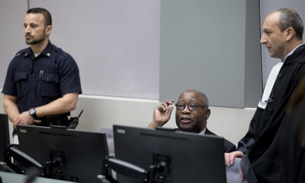 The trial of former Ivory Coast president Laurent Gbagbo, centre, began in the Hague last week.