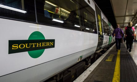 A Southern rail train during a strike by members of the RMT union.