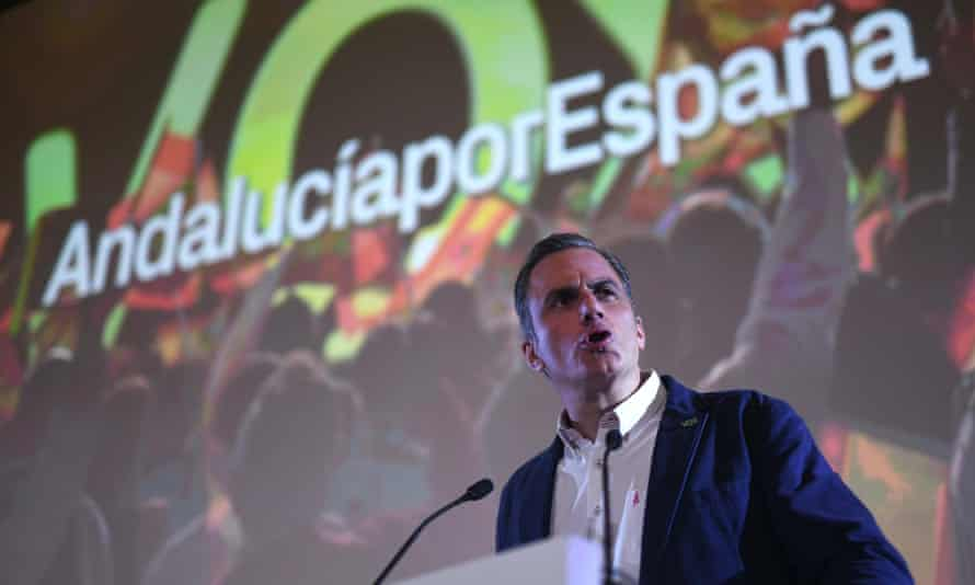 General Secretary of right-wing party Vox, Javier Ortega, gives a speech during the Andalusian regional election in Spain