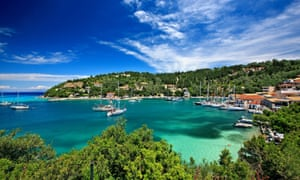 Lakka bay and village on Paxos island, Ionian Sea.