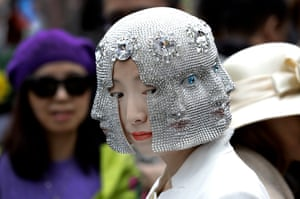 woman in silver mask