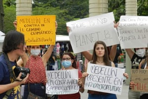Activists take part in the Global Strike for Climate on 15 March 2019 in Medellín, Colombia