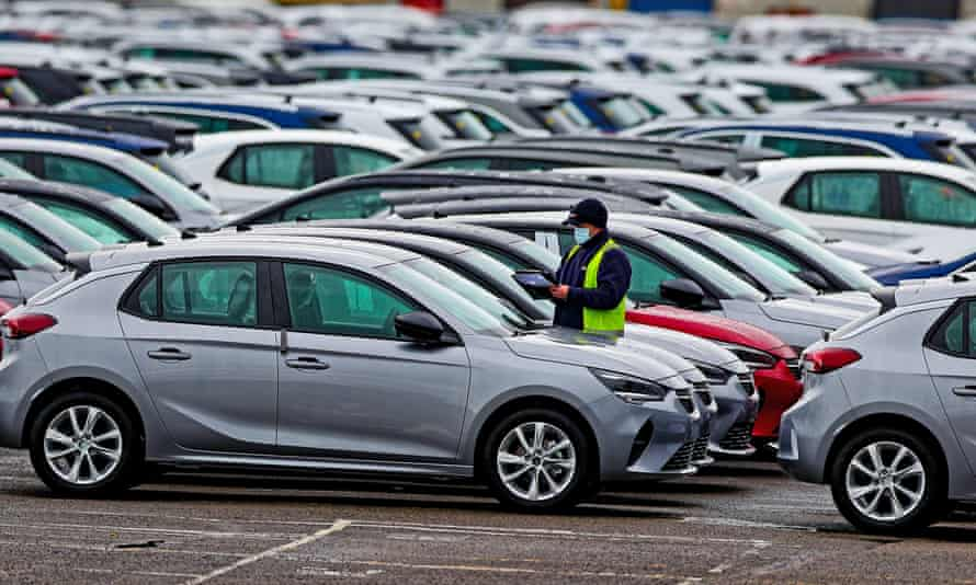 Cars at the Vauxhall plant in Ellesmere Port, Cheshire.
