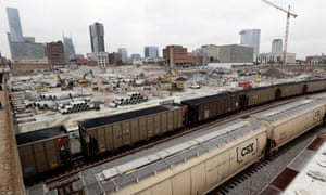 Construction work goes on in Nashville Yards, where Amazon plans to locate an operations hub.