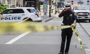 Police near the scene of shooting near Fountain Square in Cincinnati.