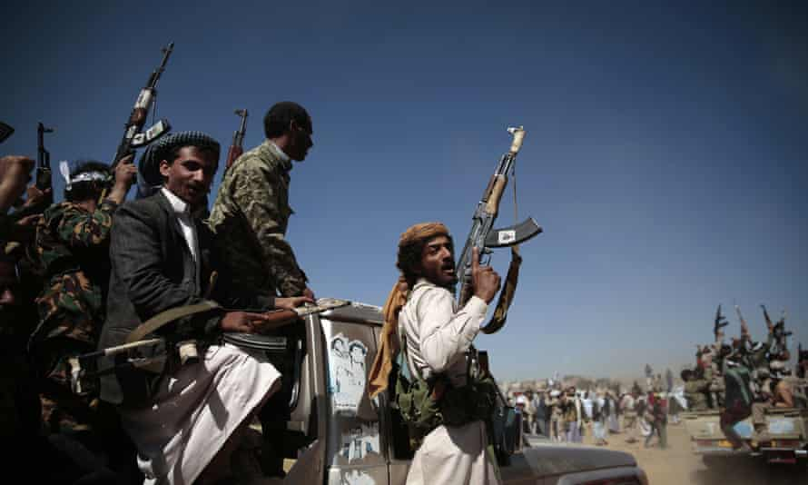 Houthi rebels in Yemen. Sunday's attack on Saudi cities is the third in five months.