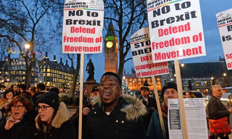 Anti-Brexit campaigners protest outside the supreme court during the article 50 case.