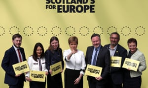 SNP Euro election candidates with Nicola Sturgeon, the first minister, at the launch of the SNP's manifesto in Glasgow. Left to right: Alex Kerr, Margaret Ferrier, Aileen McLeod, Sturgeon, Alyn Smith, Christian Allard and Heather Anderson