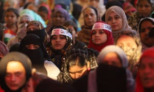 Muslim women listening to speeches during demonstrations at Shaheen Bagh.