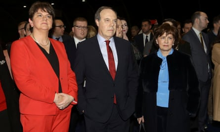 Arlene Foster, Nigel Dodds and his wife Diane after losing Belfast North.