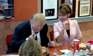 trump eats pizza with fork