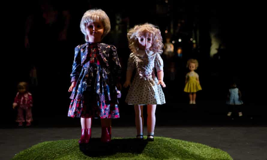 Puppets from the theatre show The Body at the Barbican, London