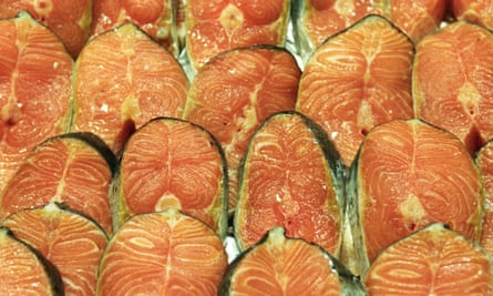 Salmon steaks at a Carrefour supermarket in Calais, France.