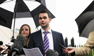 Daniel and Amy McArthur speak to reporters outside Belfast county court.