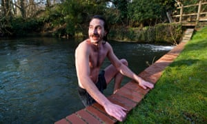 'Lady Macbeth was the first one in' … Postlethwaite takes a dip before rehearsals.