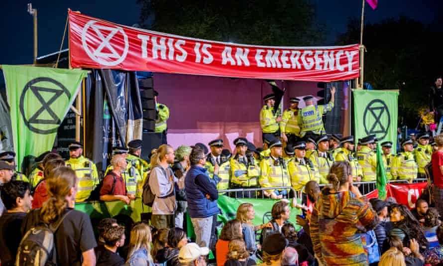 The Extinction Rebellion camp at Marble Arch in central London