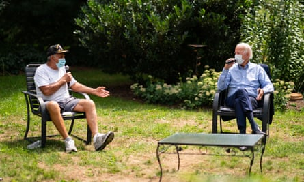 Joe Biden holds backyard conversation with union members during campaigning in Lancaster, Pennsylvania.