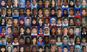 """A 2012 image showing the faces of schoolchildren aged six to 16 who lived in the five London boroughs that hosted the London Olympic Games. Many children today are """"third culture kids"""" who have spent much of their life outside their parents' culture."""