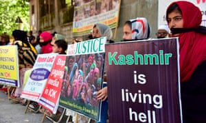 Young Kashmiri refugees take part in an anti-India protest rally in Muzaffarabad.
