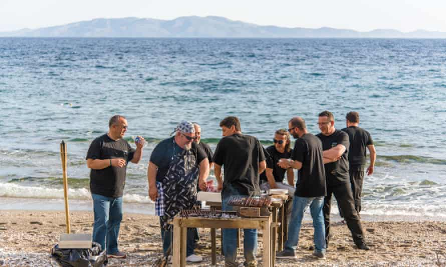 Tinos Food Paths holds a beach barbecue