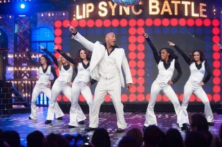 Rock star ... Dwayne Johnson on Lip Sync Battle.