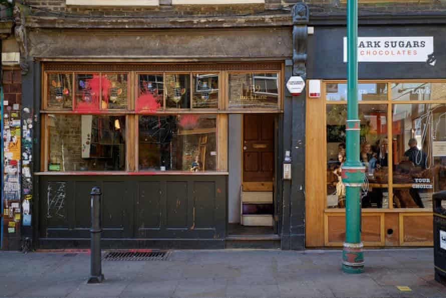 Cereal Killer Cafe, daubed with paint and cornflakes as part of anti-gentrification protest.