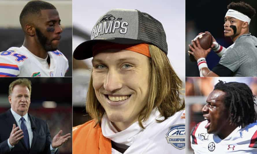 NFL commissioner Roger Goodell (bottom left) will welcome Kyle Pitts, Trevor Lawrence, Justin Fields and Jaycee Horn into the league in the coming days