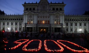 The scene from the National Palace in Guatemala City on Saturday where candles were lit in memory of the 9,000 people who have died from Covid.