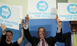 Nigel Farage speaking at a general election event in Peterborough.