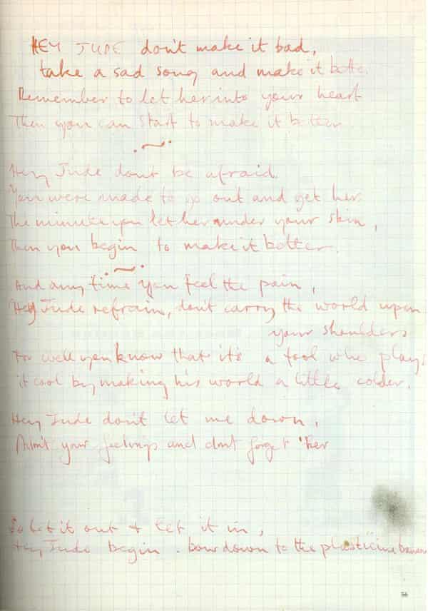 A handwritten draft of McCartney's well-known lyrics