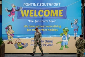 Members of the military arrive at Pontins to set up a mass Covid-19 testing facility in Southport