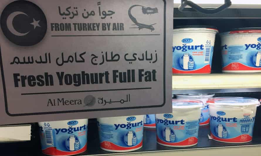 Yoghurt imported from Turkey on sale in a Doha supermarket