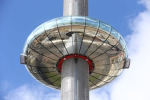 The i360 pod can whisk up to 200 people into the sky above Brighton.